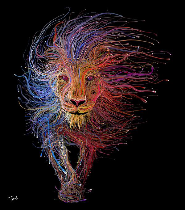Charis Tsevis Lion of Lyon illustration AMS Design Blog