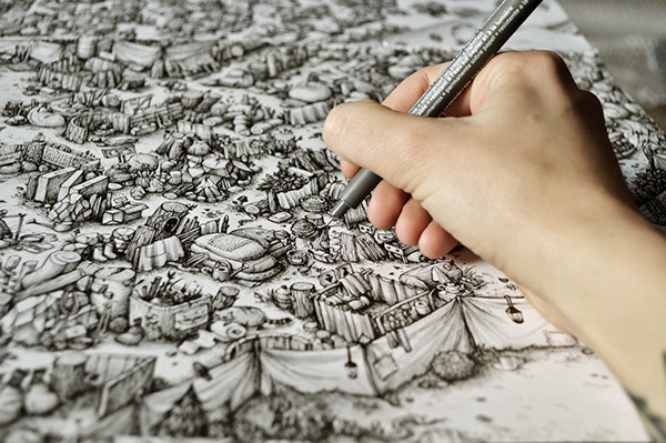 Ink Maze illustrations for Saatchi & Saatchi AMS Design Studio Blog_000